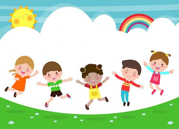 Glückliche kinder, die auf den park, kinderaktivitäten, kinder spielen im spielplatz, schablone für werbungsbroschüre, ihr text, flache lustige zeichentrickfilm-figur, illustration springen und tanzen