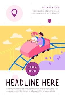 Glückliche kinder, die auf flacher illustration der hohen achterbahn reiten