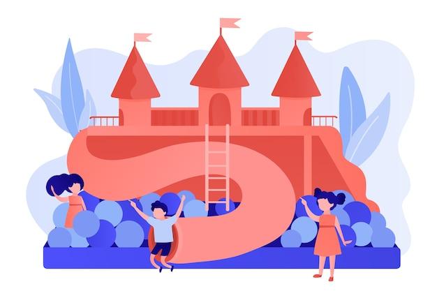 Glückliche kinder, die draußen auf spielplatz mit rutschen, bällen und rohren spielen, winzige leute. kinderspielplatz, kinderzone, spielplatz zu vermieten konzept. isolierte illustration des rosa korallenblauvektors