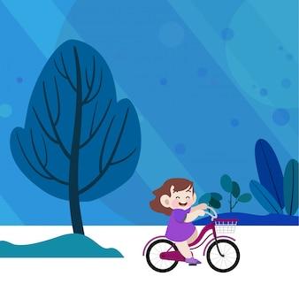 Glückliche kinder, die ein fahrrad in der gartenvektorillustration reiten