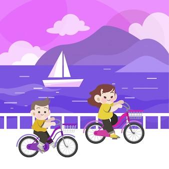 Glückliche kinder, die fahrrad in der strandvektorillustration fahren