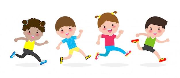 Glückliche kinder, die für gesundes rütteln. zeichentrickfilm-figur-kinder, welche die abbildung getrennt auf weiß laufen lassen.