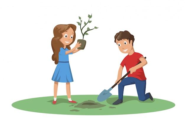 Glückliche kinder, die im garten oder im park arbeiten. jungen und mädchen pflanzen einen baum. karikaturillustration lokalisiert auf weiß