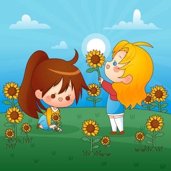 Glückliche kinder, die mit sonnenblumen spielen