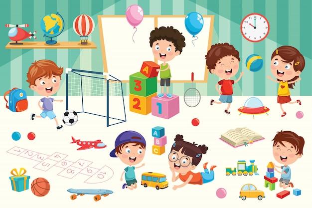 Glückliche kinder, die mit spielwaren spielen