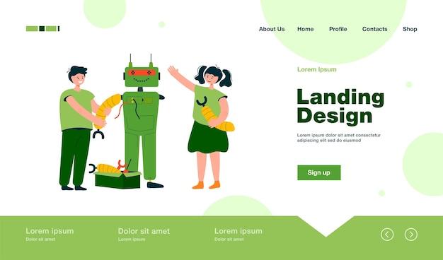 Glückliche kinder, die roboter für schulprojekt-landingpage im flachen stil machen