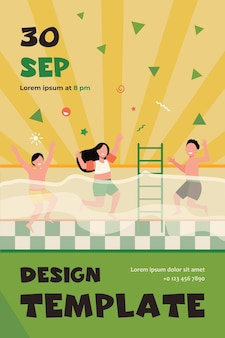 Glückliche kinder, die spaß im schwimmbad haben. jungen und mädchen in badebekleidung genießen aktivitäten im familienfitnessclub. flyer vorlage