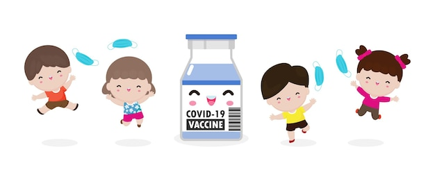 Glückliche kinder, die springen, entfernen medizinische maske mit impfstoff gegen covid19 oder coronavirus 2019ncov süße kindermaskengruppe das ende des covid19-konzepts einzeln auf weißem hintergrund