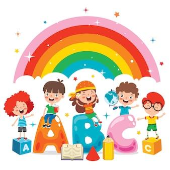 Glückliche kinder, die studieren und lernen