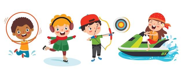 Glückliche kinder, die verschiedene sportarten machen