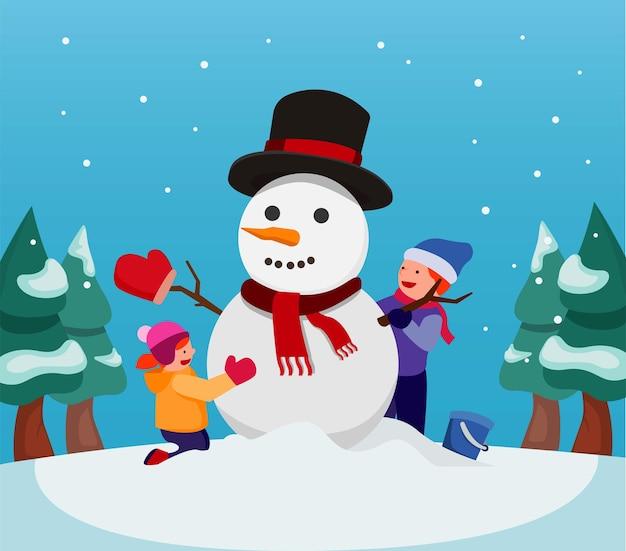 Glückliche kinder, die zusammen schneemann machen, kinderaktivität im weihnachts- und wintersaisonvektor