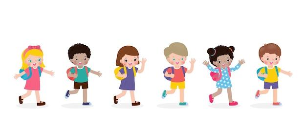 Glückliche kinder gehen zur schule isoliert auf weißer hintergrundvektorillustration