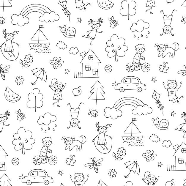 Glückliche kinder im sommerpark. lustige kleine kinder spielen, laufen und springen. nahtloses muster im kindischen doodle-stil. handgezeichnete vektorillustration
