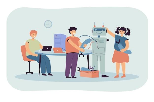 Glückliche kinder machen roboter für schulprojekt flache illustration. karikaturillustration