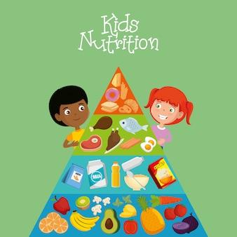Glückliche kinder mit ernährung essen