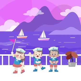 Glückliche kinder spielen in der strandvektorillustration