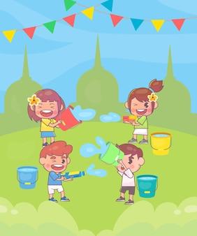 Glückliche kinder spielen songkran festival Premium Vektoren