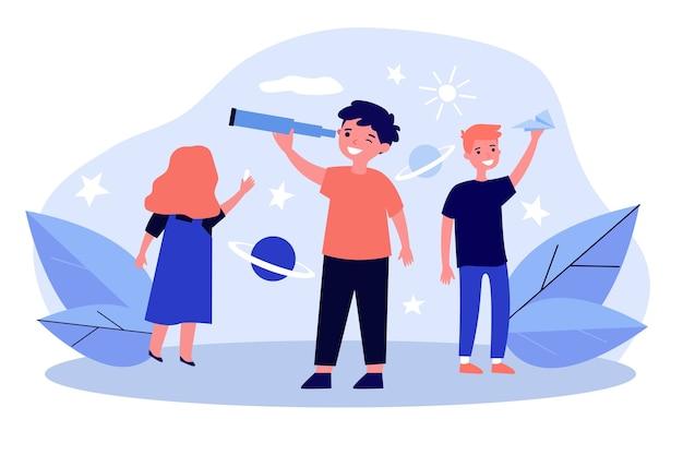 Glückliche kinder spielen und erforschen das universum