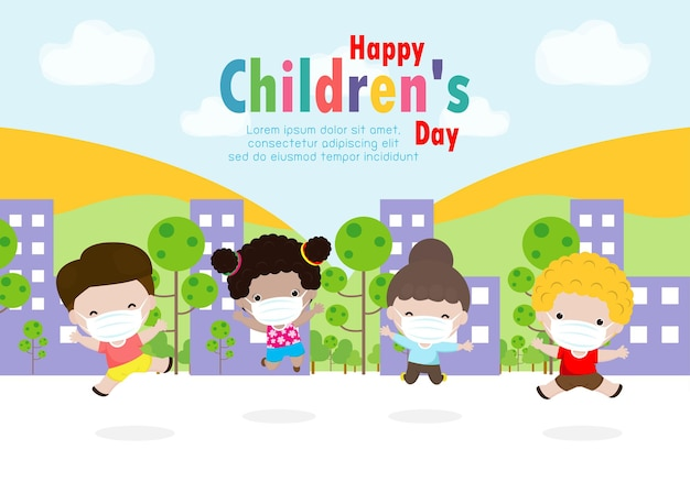 Glückliche kinder-tageskarte mit einer gruppe von niedlichen kindern, die eine medizinische schutzmaske tragen