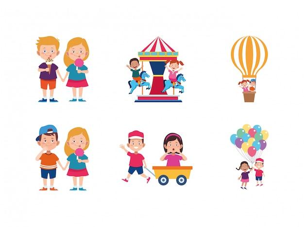 Glückliche kinder und karussell in verbindung stehende ikonen