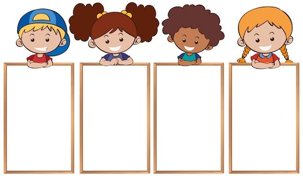 Glückliche kinder und leere whiteboards