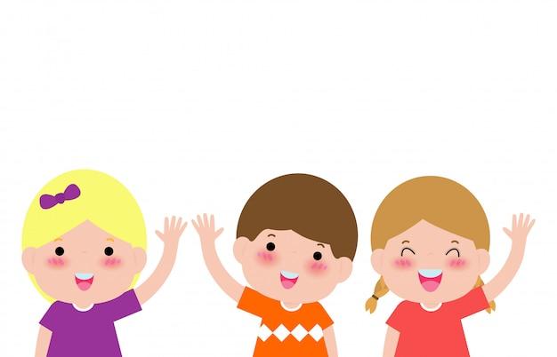 Glückliche kinder zeigt sich hände und wellenartig bewegende hallo, kinderjungen- und -mädchenhallo geste, lokalisiert auf weißer illustration
