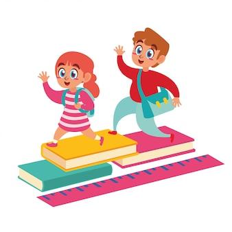 Glückliche kinder zurück in die schule