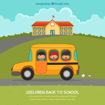 Glückliche kinder zurück zu schulhintergrund