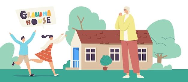 Glückliche kinderfiguren, die laufen, um großmutter zu umarmen, stehen im haus. kinder kamen bei oma für sommerferien auf dem land oder im dorf an. glückliche familienbeziehungen lineare menschen vektor-illustration