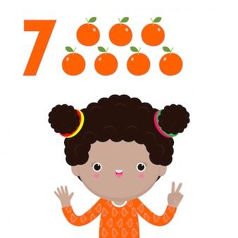 Glückliche kinderhand, die die nummer sieben zeigt, niedliche kinder, die zahlen mit den fingern zeigen. kleines kind studieren mathe zahl zählen obst bildungskonzept, lernmaterial isolierte illustration
