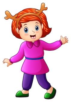 Glückliche kinderkarikatur, die eine rotwildkappe trägt
