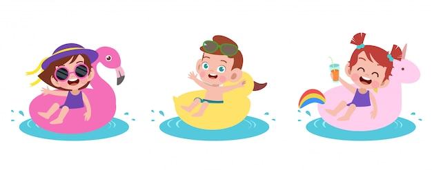 Glückliche kinderstrandurlaub-vektorillustration lokalisiert