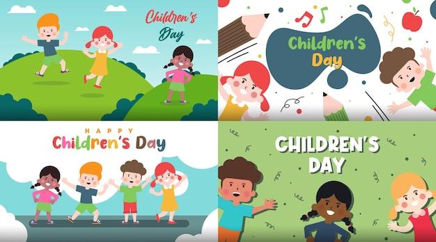 Glückliche kindertageshintergrundillustration