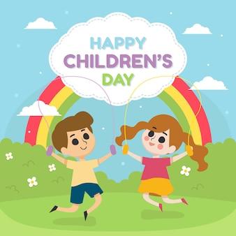 Glückliche kindertagesillustration mit kindern spielen im park mit regenbogen