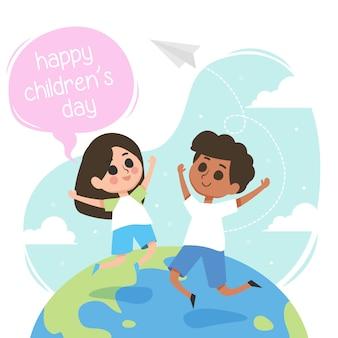 Glückliche kindertagesillustration mit kindern springen in die welt
