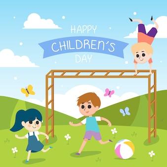 Glückliche kindertagesillustration mit laufenden kindern
