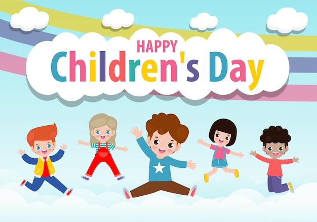 Glückliche kindertageskarte mit niedlichen kindern der gruppe, die auf den bewölkten himmel mit regenbogen springen