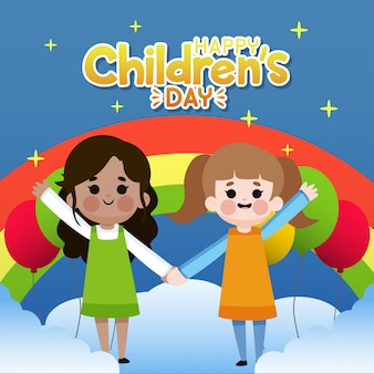 Glückliche kindertagillustration