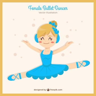Glückliche kleine ballerina mit blauem kleid