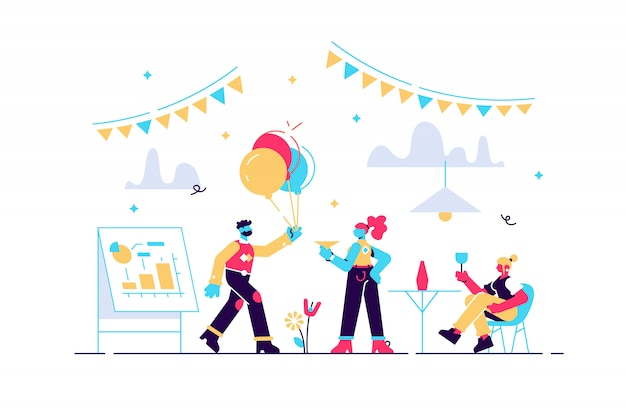 Glückliche kleine geschäftsleute tanzen, haben spaß und trinken wein. firmenfeier, teambuilding-aktivität, konzept für firmenveranstaltungen. helle lebendige violette isolierte illustration