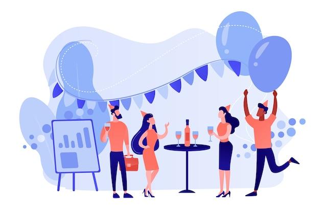 Glückliche kleine geschäftsleute tanzen, haben spaß und trinken wein. firmenfeier, teambuilding-aktivität, konzept für firmenveranstaltungen. isolierte illustration des rosa korallenblauvektors