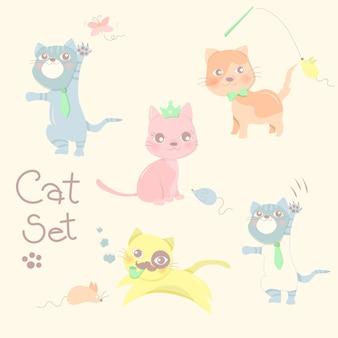 Glückliche kleine katze und ratte stellten in pastellfarbhintergrund ein