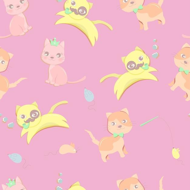 Glückliche kleine katzen im rosa farbhintergrund