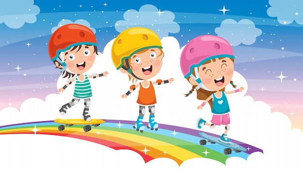 Glückliche kleine kinder, die draußen skateboard fahren