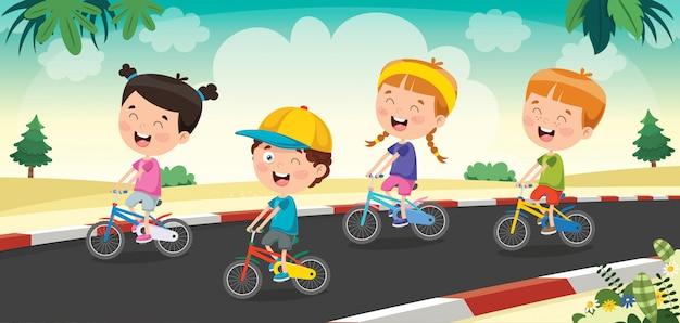 Glückliche kleine kinder, die fahrrad auf die straße fahren
