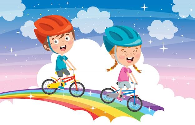 Glückliche kleine kinder, die fahrrad auf regenbogen fahren
