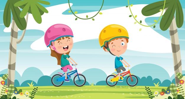 Glückliche kleine kinder, die fahrrad im dschungel fahren
