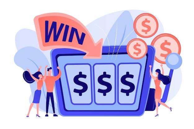 Glückliche kleine leute, die am spielautomaten mit dollarzeichen spielen und geld gewinnen. spielautomat, geldspielsieger, jackpot-gewinnkonzept. isolierte illustration des rosa korallenblauvektors