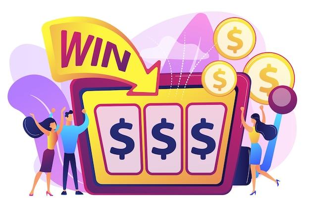 Glückliche kleine leute, die am spielautomaten mit dollarzeichen spielen und geld gewinnen. spielautomat, geldspielsieger, jackpot-gewinnkonzept.