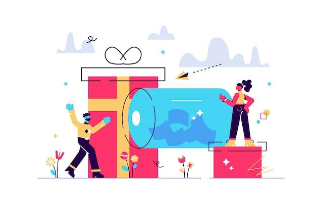 Glückliche kleine leute, die verlosungstrommel mit tickets drehen und preisgeschenkboxen gewinnen. verlosung, online-verlosung, werbemarketingkonzept. helle lebendige violette isolierte illustration